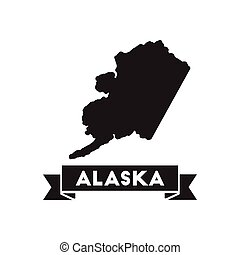 Flat icon in black and white Alaska map