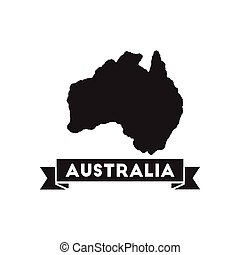 Flat icon in black and white Australia map