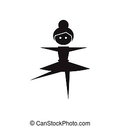 Flat icon in black and white ballerina