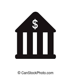 Flat icon in black and white bank