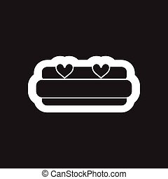 Flat icon in black and white bed heart
