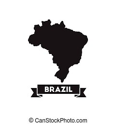 Flat icon in black and white Brazil map