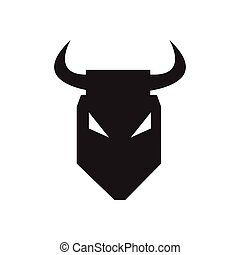 Flat icon in black and white bull