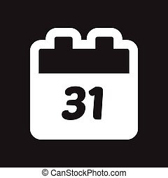 flat icon in black and white calendar