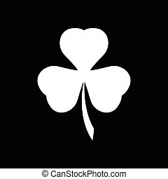 Flat icon in black and white clover