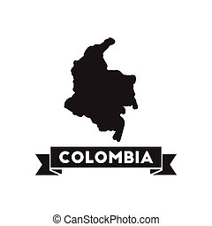 Flat icon in black and white Columbia map
