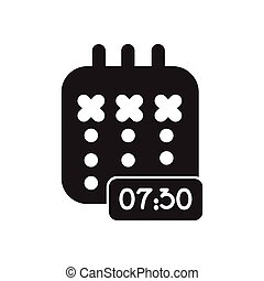 Flat icon in black and white diary