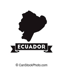 Flat icon in black and white Ecuador map