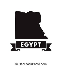 Flat icon in black and white Egypt map