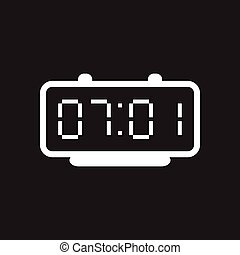 Flat icon in black and white electric clocks