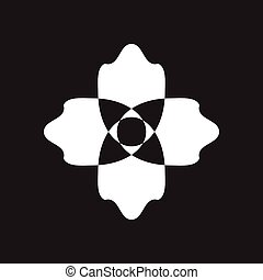 Flat icon in black and white flower - Flat icon in black and...