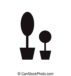 Flat icon in black and white flowerpots