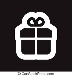 Flat icon in black and white gift