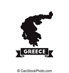 Flat icon in black and white Greece map