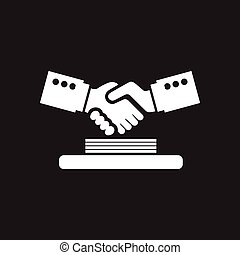 Flat icon in black and white handshake documents
