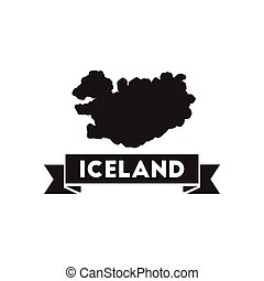 Flat icon in black and white Iceland map