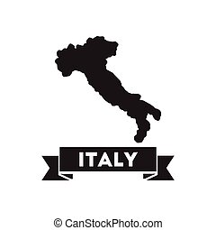 Flat icon in black and white Italy map