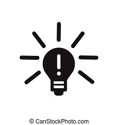 Flat icon in black and white lightbulb