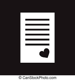 Flat Icon In Black And White Love Letter
