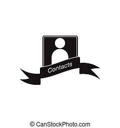Flat icon in black and white mobile contacts