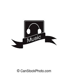 Flat icon in black and white mobile music