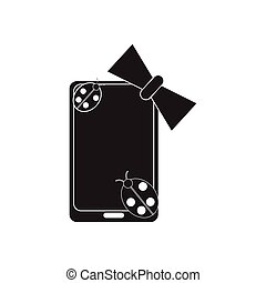Flat icon in black and white mobile phone