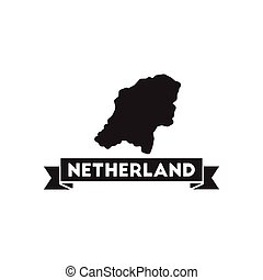 Flat icon in black and white netherlands map