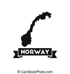 Flat icon in black and white Norway map