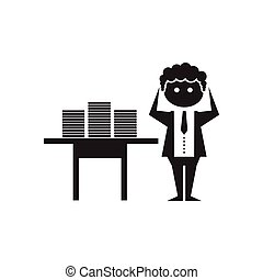 Flat icon in black and white office worker