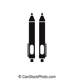 Flat icon in black and white pens