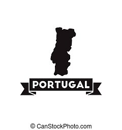 Flat icon in black and white Portugal map