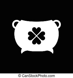 Flat icon in black and white pot of gold