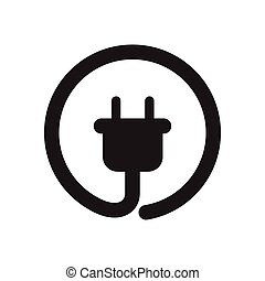 Flat icon in black and white power socket - Flat icon in...