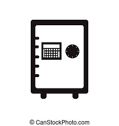 Flat icon in black and white safe