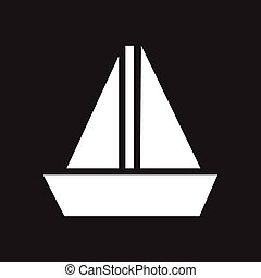 Flat icon in black and white sailing ship