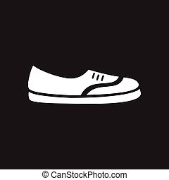 Flat icon in black and white shoes