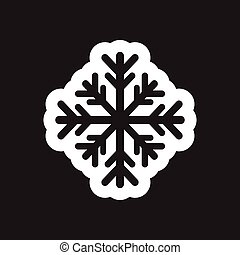 Flat icon in black and white snowflake