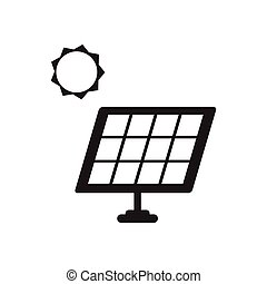 Flat icon in black and white solar battery