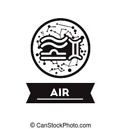 flat icon in black and white style air sign zodiac