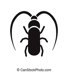 flat icon in black and white style beetle barbel