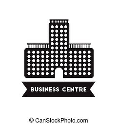 flat icon in black and white style building business Centre...