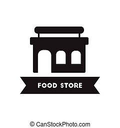 flat icon in black and white style building grocery store