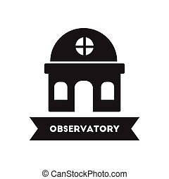 flat icon in black and white style building observatory