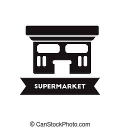 flat icon in black and white style building supermarket