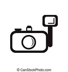 flat icon in black and white style  camera