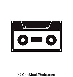 flat icon in black and white style cassette