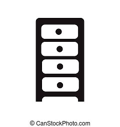 flat icon in black and white style chest of drawers