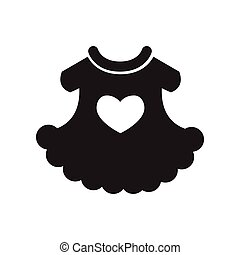 flat icon in black and white style child dress