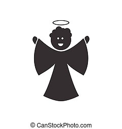 flat icon in black and white style Christmas angel