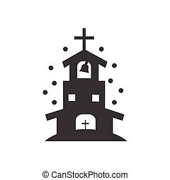 flat icon in black and white style church